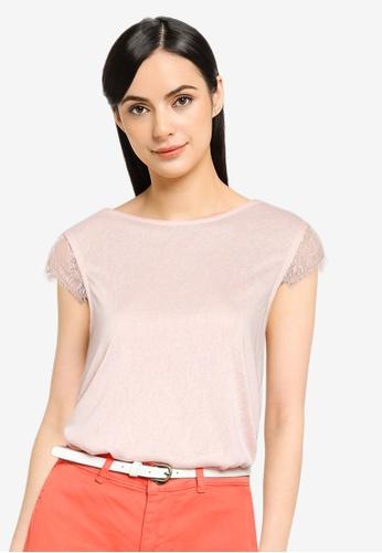 Springfield pink Linen Effect Lace Sleeves T-Shirt E27ADAAC36E502GS_1