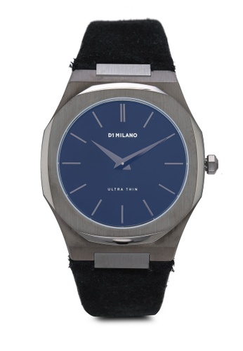 D1 Milano black and grey Ultrathin Gun Metal Case Stromboli Strap Watch 002CBAC2E4DDB6GS_1
