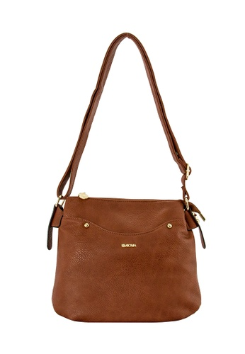 SEMBONIA brown SEMBONIA Synthetic Leather Crossbody Bag (Brown) DE591ACBD8D893GS_1