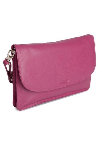 SADDLER purple SADDLER Womens Leather Cross Body Purse Clutch - Detachable Strap -Ladies Sling Bag - Magenta D559EAC154991CGS_1