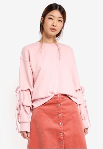 Stylenanda pink Ribbon Tie Sweatshirt ST343AA0SXJ5MY_1