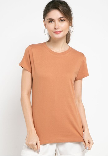 Tolliver brown Round Neck Basic Short Sleeve Tee D4CC8AA58FC52AGS_1