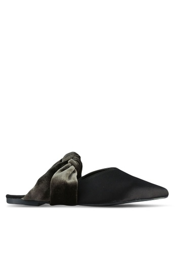 Something Borrowed black and green Knotted Velvet Pointed Flats 96BEASH77F506AGS_1