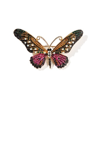 Glamorousky silver Fashion Bright Plated Gold Color Butterfly Brooch with Cubic Zirconia 528E0AC9AF822EGS_1