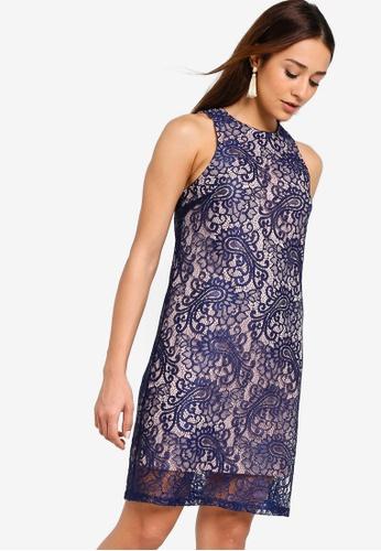 ZALORA pink and navy Round Neck Lace Shift Dress 32C10AA602F6FBGS_1