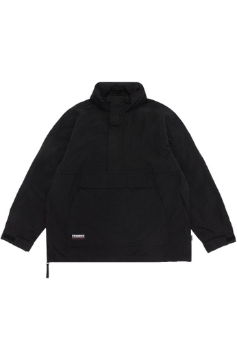 Fingercroxx black Panelled logo anorak jacket C08F0AAF032C98GS_1