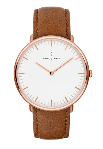 Nordgreen brown and gold Nordgreen Native Rose Gold 36 mm - Brown Leather Watch E192EACC18B4BAGS_1