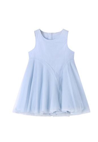 M.Latin blue Sleeveless Round Neck Dress with Mesh 51E95KA9EDF750GS_1