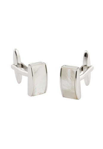 Buckle white and silver Rectangle Mother of Pearl Cufflinks 0F2CBAC8EDE8EFGS_1