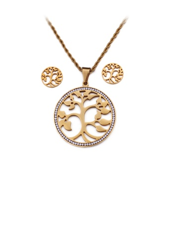 Glamorousky white Fashion and Elegant Plated Gold Tree Of Life 316L Stainless Steel Necklace and Stud Earrings Set with Cubic Zirconia C12B8AC9C8EBDEGS_1