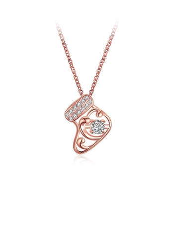 Glamorousky white Fashion Plated Rose Gold Sock Pendant with Cubic Zircon and Necklace 26A19ACF642F76GS_1