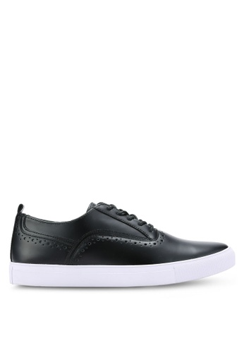 ZALORA black Faux Leather Oxford Sneakers D8EAASH9E2D5B0GS_1
