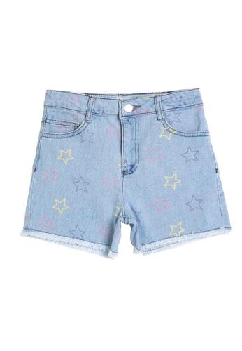 KOTON blue Printed Pocket Medium Rise Jean Shorts 719AAKA9E7625BGS_1