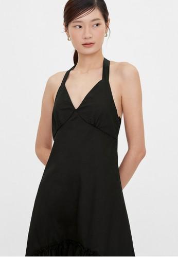 Pomelo black Halter Strap V Neck Dress - Black D0D4EAAC155E1FGS_1