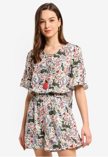 Hopeshow beige Floral Print Mid Flare Sleeve Mini Dress 64B78AAA85CABBGS_1