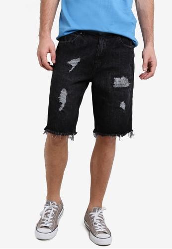 Factorie black Shredded Shooter Shorts FA880AA79XRKMY_1