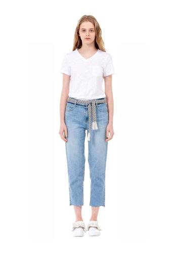 G-CUT white V-Neck Basic T-Shirt 787EBAACE65482GS_1