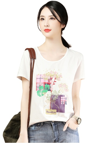A-IN GIRLS white Simple Round Neck Embroidered T-Shirt CB396AACA9111AGS_1
