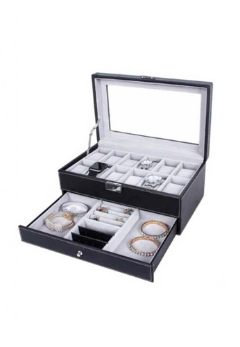 Fashion by Latest Gadget black 12 Slots 2 Layer Watch and Jewelry Organizer with Lock FA499AC30DRLPH_1