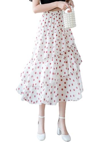 Halo white Printed Ruffle Chiffon Skirt ACE70AAAD7C20FGS_1