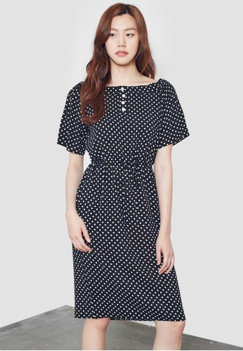 點點露肩鈕扣連身裙, 服飾, 洋esprit台灣官網裝