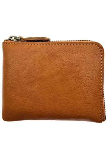 LUXORA brown The Ninja Co. Top Grain Leather Billfold Zip Wallet Card Holder Purse Brown 8B411AC2BF0CF2GS_1
