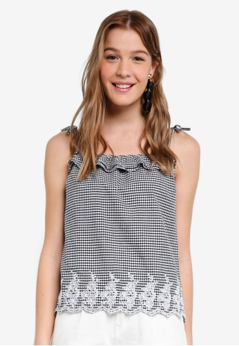 Dorothy Perkins black Gingham Embroidered Cami Top EC313AA7136335GS_1