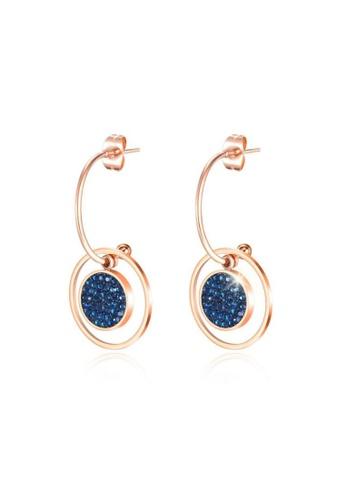 CELOVIS blue and gold CELOVIS - Helena Round Disc with Blue Zirconia C-Hoop Drop Earrings 362C5AC540B25DGS_1