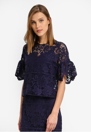 WAREHOUSE navy Int Panelled Lace Top WA653AA0SL1WMY_1