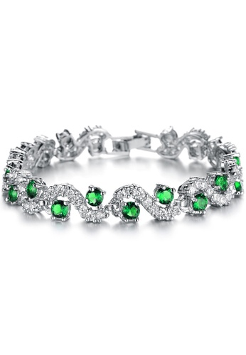 YOUNIQ green YOUNIQ Green Diamondate CZ Platinum Plated Silver Bracelet 18367AC7882D8EGS_1