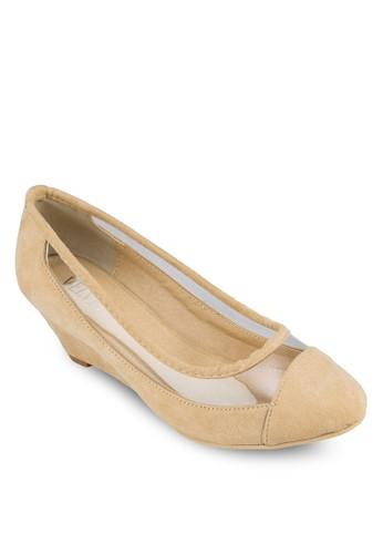 Renee 透明拼接楔zalora 心得形鞋, 女鞋, 鞋