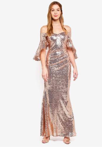 eec4cb220a40 Goddiva pink Sequined Off Shoulder Flutter Sleeve Maxi Dress  972A0AA00621E2GS 1