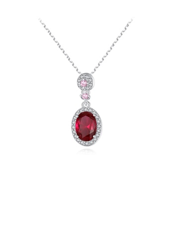 Glamorousky white 925 Sterling Silver Fashion and Elegant Geometric Oval Pendant with Red Cubic Zirconia and Necklace A2BCDAC2895378GS_1