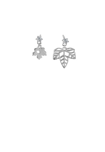 Glamorousky white 925 Sterling Silver Fashion Simple Maple Leaf Stud Earrings with Cubic Zirconia 08CA3ACE9E1378GS_1