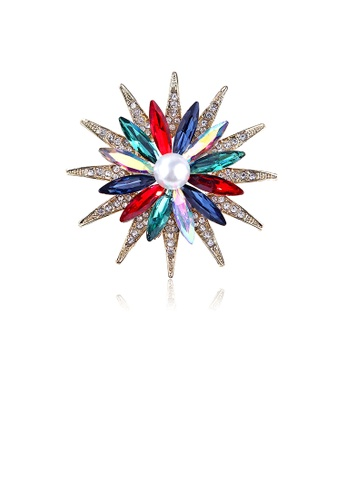 Glamorousky white Fashion Bright Plated Gold Sunflower Imitation Pearl Brooch with Colorful Cubic Zirconia EADEAAC2026F45GS_1