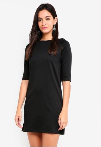 ZALORA BASICS black Basic Raglan Sleeves Shift Dress B1D7CAA96CF188GS_1