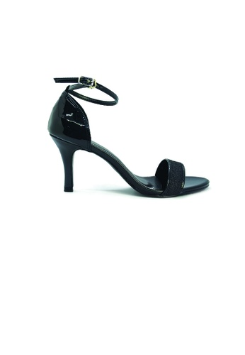 SHINE black Ankle Strap Sandal Heels SH554SH0GE7VSG_1