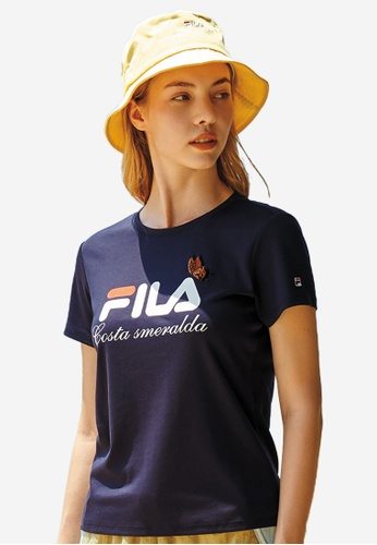 FILA navy Sequin Butterfly FILA Logo Cotton T-shirt FC658AAD99F293GS_1