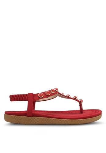 Spiffy red Pearl T-Strap Sandals SP352SH0SRWZMY_1