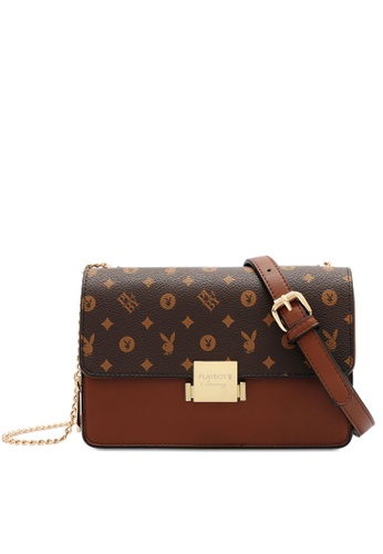 PLAYBOY BUNNY brown Chain Sling Bag D2E68AC31C4FF5GS_1