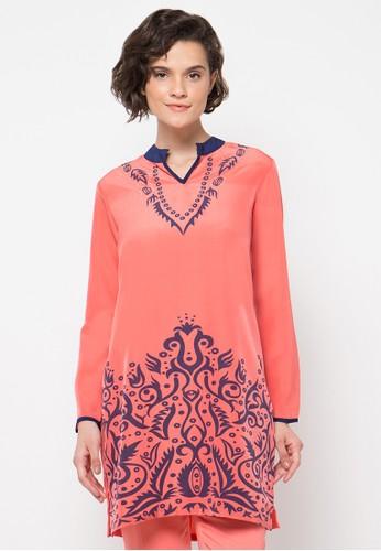 Le'Rosetz orange Orange Tunic Print Blouse LE828AA36ZWXID_1