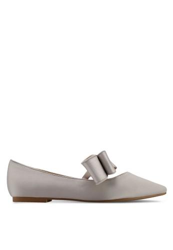 Velvet grey Satin Ballerina Bow Flats C2172SH339FD83GS_1