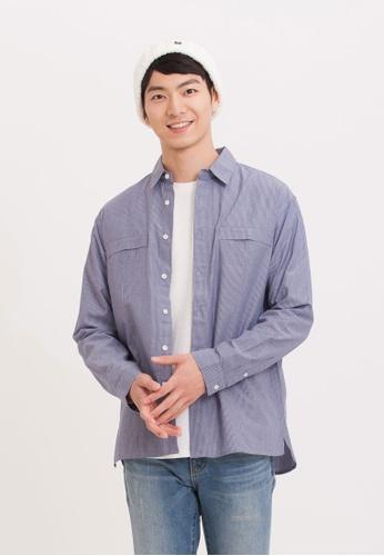H:CONNECT blue Pinstripe Cotton Shirt 52473AA7535D1AGS_1