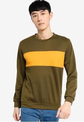 ZALORA BASICS yellow and green Contrast Panel Sweatshirt E27F6AAB85156EGS_1