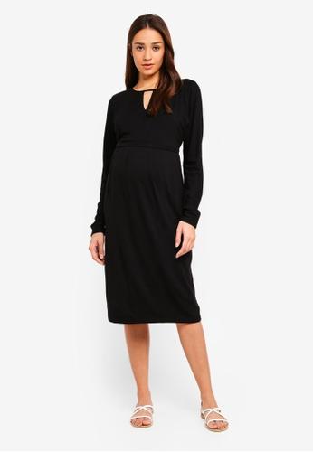JoJo Maman Bébé black Maternity Keyhole Dress 1ADDFAA772DBDAGS_1