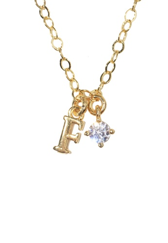 PSYNDROME gold Personalised Initial Letter Alphabet with Cubic Zircona Necklace - F 8579DACAB654AEGS_1
