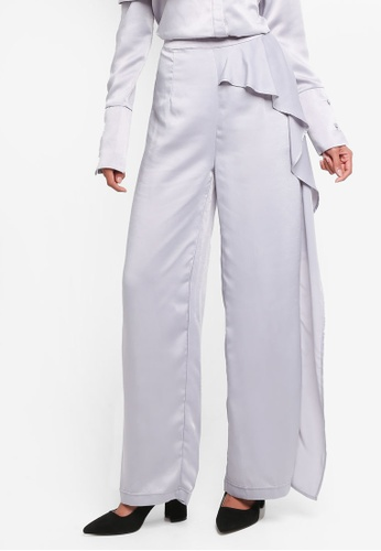Lavish Alice grey Draped Asymmetric Wide Leg Satin Trousers LA457AA0SSQWMY_1