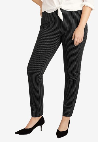 Violeta by MANGO black Plus Size Pinstripe Leggings 64EFBAA7F96705GS_1