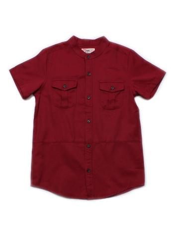 Mini Moley red Brushed Cotton Twin Pocket Short Sleeve Shirt E6301KADD224BCGS_1