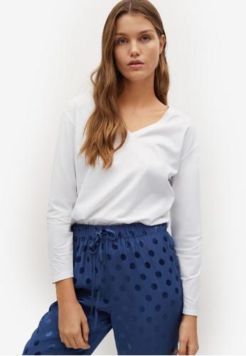 Mango white Long Sleeve Cotton T-Shirt FFEE6AA3B84E2BGS_1